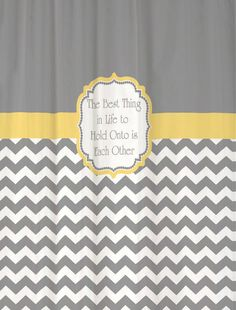 Shower Curtain Cool Gray Half Chevron with Butter Yellow Accents Favorite Quotation Custom for Your Bathroom on Etsy. This would be so cute for the boys bathroom with a verse of scripture. Extra Long Shower Curtain, Long Shower Curtains, Bathroom Curtains, Fabric Shower Curtains, Yellow Chevron, Grey Yellow, Gray, Bathroom Ideas, Bathroom Stuff