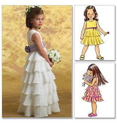 Flower Girl Dress Pattern, Ruffle Dress Pattern, Sz 6 to Butterick 4967 sewing pattern Little Girl Dress Patterns, Little Girl Dresses, Girls Dresses, Flower Girl Dresses, Flower Girls, Girls Special Occasion Dresses, Baptism Dress, Communion Dresses, Kids Outfits