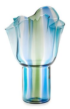 An asymmetric handkerchief form on a cylindrical base in aqua, blue and green striped glass.