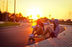 sunset and skater girls