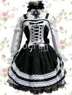 Schwarz And Weiß Baumwolle Gothic Lolita Kleid