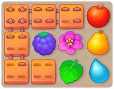 Casual Art, Game Ui Design, Match 3, Game Dev, Matching Games, Tile, Puzzle, Study, Icons