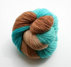 Turquoise and caramel hand dyed yarn