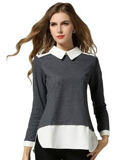 Splicing Polo Collar Long Sleeve Blouses For Women   This look is the definition of Pric - Preppy and Chic.