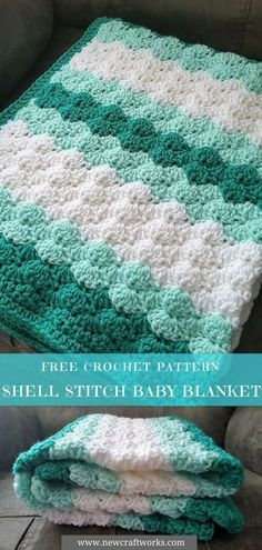 Shell Stitch Baby Blanket - Free Crochet Pattern   #babyblanket