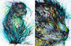 ¡Asombrosos retratos de animales hechos con pintura arrojada!   IsPop