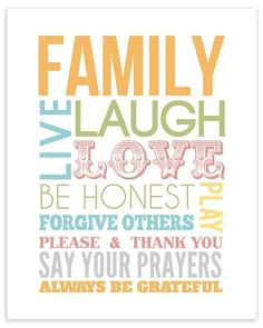 Family Live Laugh Love Be Honest Play Forgive Others Please & Thank You Say Your Prayers Always Be Grateful