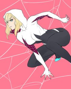 ban blonde hair bodysuit breasts from side gloves gradient gwen stacy highres hood marvel mask no pupils pink background short hair silk solo spider-gwen spider-man (series) spider-woman spider web spider web print squatting superhero - Image View - Gwen Stacy, Bd Comics, Comics Girls, Spiderman Art, Amazing Spiderman, Art Anime, Anime Art Girl, Marvel Spider Gwen, Spider Man Series