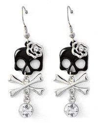 Silvertone Girly Skull & Cross Bones Dangle Earrings