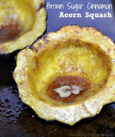 MouthwateringBaked Brown Sugar Cinnamon Acorn Squash. A simple side dish your whole family will love.