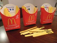 The golden arches gladly gave me a few french fry boxes when I asked. I made Boardmaker symbols of beginning, middle and end. Popsicle sticks became french fries with target words written on them. Students say their sounds and then identify where the target sound is in the words. Easy to make and something new for the littles.