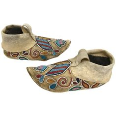 Antique Native American Plains Indian Beaded Moccasins, circa 1880 1