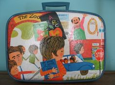 vintage suitcase decopaged with 70s kids book art