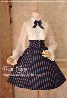 Dear Celine Autumn School Corset Skirt Navy Blue