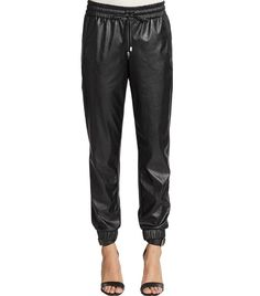 Saks Fifth Avenue RED Faux Leather Track Pants