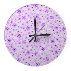 Purple Little Butterflies Wall Clock