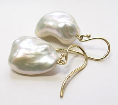 Baroque Pearl White Natural Color Fresh Water 18K by FavreBijoux, $300.00
