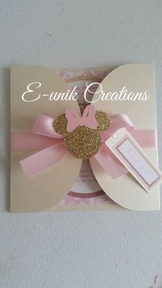 Minnie Mouse Baby Shower Invitation, Gold and pink baby shower, gold and pink minnie mouse - This beautiful handmade invitation goes perfectly for a Pink and Gold Minnie Mouse Baby shower them - Minnie Mouse 1st Birthday, Minnie Mouse Theme, Minnie Mouse Baby Shower, Pink Minnie, Baby Mouse, Minnie Mouse Invitation, Handmade Invitations, Baby Shower Invitations, Party Invitations