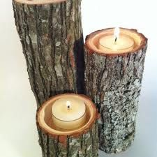 Candles in a wood log - awesome rustic wedding idea