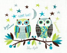 'Owl Pals' by Michael Mullan ~ great print for a bedroom