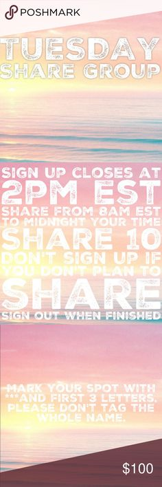 """CLOSED💞1/10 Tuesday Share Group Sign up closes at 2pm est💞Tag your name to sign up💞Write """"new"""" if you are new💞Share 10 available items from each person who signs up💞 Sharing begins at 8am est. Please share  by midnight your time💞Share to your followers, not to parties💞Be Posh compliant or you may be skipped💞Mark your spot with ***and first 3 letters of where you left off💞Sign out when finished💞 If you sign up to freeload shares, you will be blocked💞Please only ask questions in the…"""