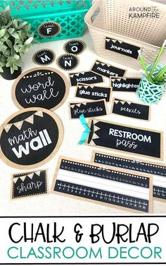 Create a beautiful and organized classroom for any grade level with this editable burlap and chalkboard classroom décor