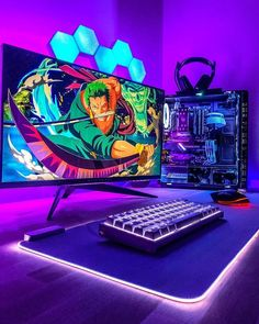 Isn't it just perfect? What would you change? Gaming Desk Room, Gamer Room, Gaming Rooms, Gaming Pc Set, Gaming Setup, Pc Setup, Desk Setup, Gamer Tags, Game Room Decor