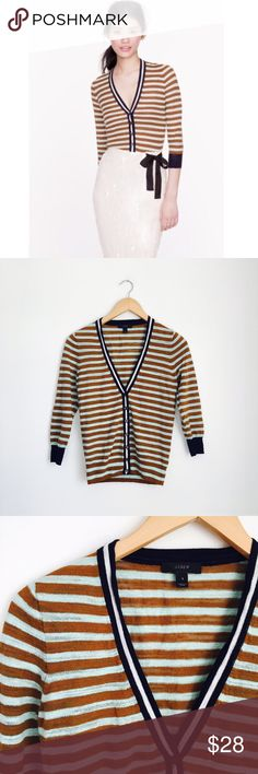 J. Crew cardigan Stripe Gauze Cardigan by J. Crew. Olive, Mint and navy. Twisted crepe yarn combined with a touch of slub cotton for a delicate texture. Whisper thin, it's just right for layering.   True to size. Size S.  Cotton slub/nylon in a 12-gauge knit. Hits at hip. Bracelet sleeves. Rib trim at neck, cuffs and hem. Machine wash. Like new, no signs of wear. J. Crew Sweaters Cardigans