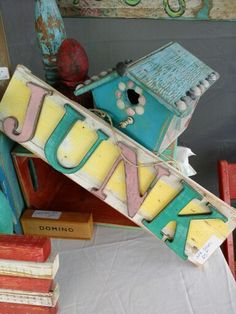 Distressed painted junk sign, funky junk by tina