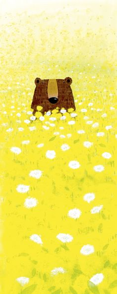 I like this illustration because it is very bright and yellow.It is attractive showing in the background that it is a beautiful summer day .The colors used in this illustration are strong and dazzling. Art And Illustration, Illustration Mignonne, Illustrations And Posters, Art D'ours, Art Mignon, Arte Sketchbook, Bear Art, Art Design, Cute Art