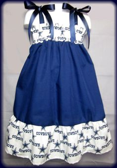 I bet my sister in law would love this for her little beauty!!   NFL Dallas Cowboys Boutique Pillowcase Dress by InlandSensations, $26.99