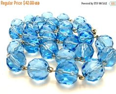 Sale Blue Glass Bead Necklace Sterling by TheJewelryLadysStore