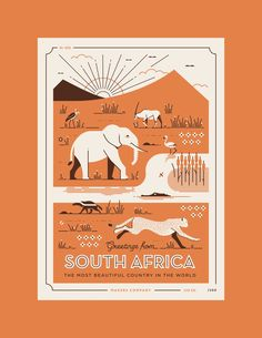 We created this set of South African wildlife postcards, featuring illustrated landscapes of some amazing creatures found within the most beautiful country in the world. Letter-pressed by our friends in California, (The Weekend Press) these cards are se… Landscape Illustration, Graphic Design Illustration, South African Design, Elephant Illustration, Design Poster, Illustrations, Stationery Design, Cartography, Character Design