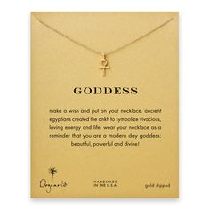 """Goddess ankh necklace - Dogeared """"An ancient symbol of good energy. A true Dogeared original. An accessory fit for a goddess! Wear this hand cast ankh necklace as a daily reminder that you are divine."""""""