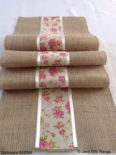 Natural Burlap/hessian and Vintage Ribbon Table Runner Burlap Table Runners, Lace Table, Decorating Bookshelves, Burlap Crafts, Tablerunners, Hessian, Table Toppers, Diy Arts And Crafts, Table Linens