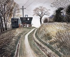 Caravans by Eric Ravilious 1936 ( Abandoned Boer War fever wagons near Furlongs, Glynde, Sussex. Dulwich Picture Gallery, Wood Engraving, Landscape Paintings, Landscapes, Tree Paintings, Landscape Art, Caravans, Online Art Gallery, Poster Prints