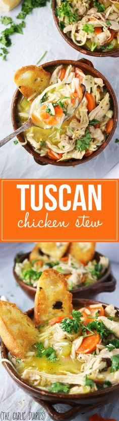 """Tuscan Chicken Stew + Our """"Mary's Secret Ingredient"""" Box! This comforting stew is layered and layered with delicious, tuscan flavor! You can't beat it :) -- TheGarlicDiaries.com"""