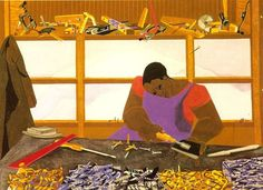 Jacob Lawrence, Builders Number gouache on paper African American Expressions, African American Artist, American Artists, African Art, Jacob Lawrence Paintings, Jacob Lawrence Art, Mississippi Museum Of Art, Harlem Renaissance, Afro Art