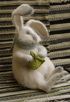 rabbit with cabbage. Very sweet felted rabbit