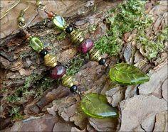Boucles végétales, Rubis sur zoisite facetté, Spinelle noire, Péroidot, Grenat: ᘛ Nuances de l'herboriste ᘚ : Boucles d'oreille par atelier-bijoux-legendaires