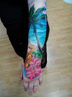beach theme half sleeve tattoo - Google Search
