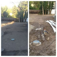 Picture collage of a customer's yard before/after we installed a new sprinkling system and added topsoil for new sod.