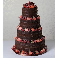 This is one for all the chocolate-obsessed couples on hitched. Le Papillion Patisserie's delicious four tier naked chocolate wedding cake has a lot going for it. The sponge looks delightful and is sea Cheesecake Wedding Cake, Vegan Wedding Cake, Unique Wedding Cakes, Wedding Cake Designs, Wedding Cake Toppers, Wedding Sheet Cakes, Wedding Themes, Chocolate Naked Cake, Chocolate Frosting