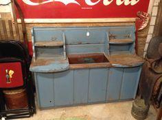 Primitive Dry Sink with original blue paint Harris Hall of Antiques, Troutville Va.