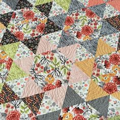 """Wynkoop Court Quilt Kit includes pattern with piecing directions for three sizes by Shayla and Kristy Wolf of Sassafras Lane, and fabrics for the top and binding from Rae Ritchie's Mumseed Meadow line for Dear Stella for the size shown, throw 61"""" x 72""""."""