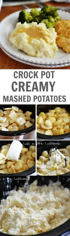The easiest and most delish mashed potatoes, cooked in the crock pot! One of the… The easiest and most delish mashed potatoes, cooked in the crock pot! One of the best easy mashed potato recipes ever. Crock Pot Recipes, Crock Pot Food, Crockpot Dishes, Crock Pot Slow Cooker, Side Dish Recipes, Slow Cooker Recipes, Cooking Recipes, Skillet Recipes, Crock Pots
