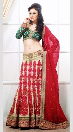 FA2162929 Golden, Red And Dark Green Designer Wear Lehenga Choli - IndiaBazaarOnline Shopping Store