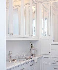 Our Butler Pantry is rather narrow, these mirrored doors could really help.  In Good Taste:  Leo Designs Chicago