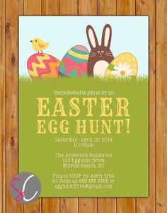 Easter Egg Hunt Invite Bunny Rabbit Easter Party
