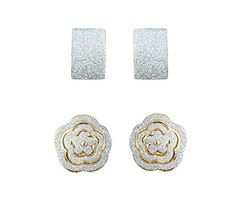 Waama Jewels Combination of Charming Silver Plated And White Color Gold Plated Stud Earring (WJC33combo)
